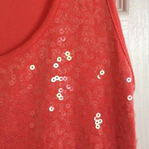Tops - Coral sequined tank